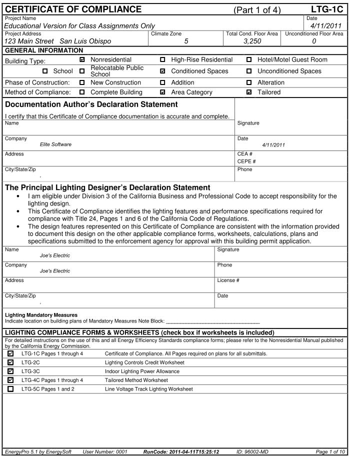 form ltg 1 c certificate of compliance - Water Efficiency Certificate Template